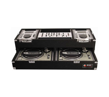 Two Turntables and Pioneer CDJ-100 Carpeted Case