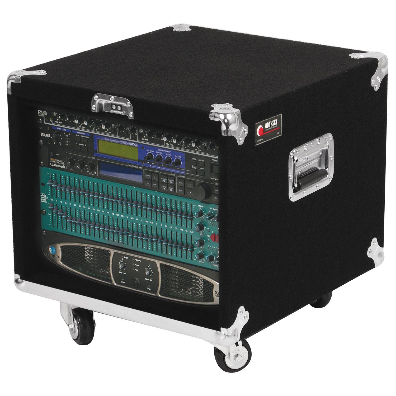 Pro 8U Carpet Amp Rack Case with Wheels