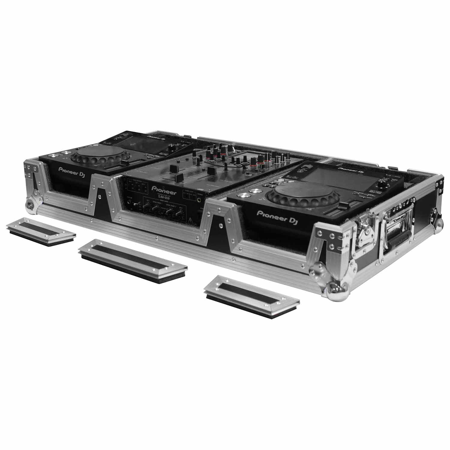 Universal 10 inch mixer and two medium format media players coffin case