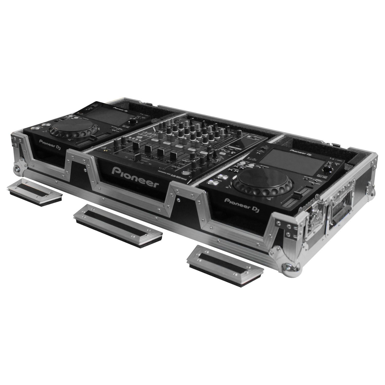 Universal 12 inch format dj mixer and two medium format media players coffin case