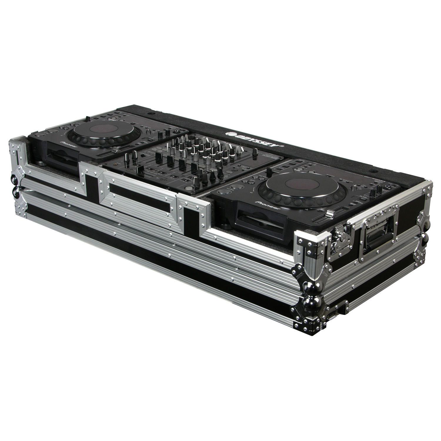 Universal 12 inch format dj mixer and two large format media players coffin case