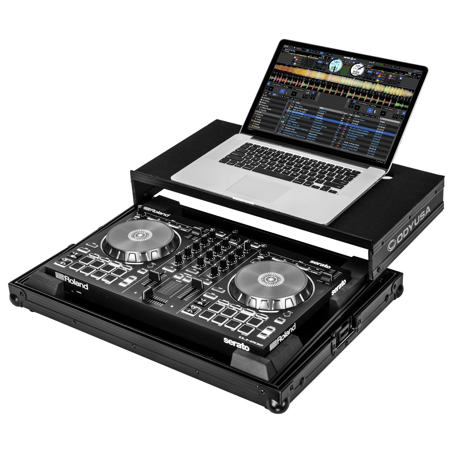 Black Roland DJ-202 Case with Laptop Glide Platform