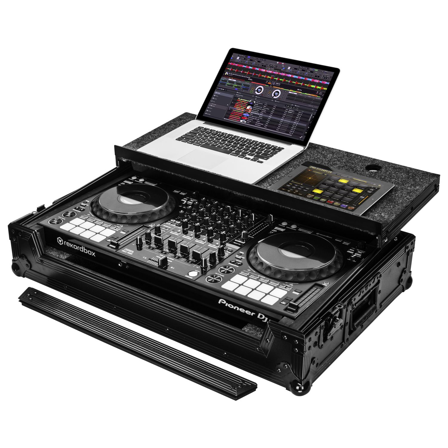 Pioneer DDJ-1000 or DDJ-1000SRT Black Case with Laptop Glide Platform
